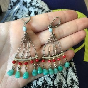 Coral & Turquoise Statement Earrings